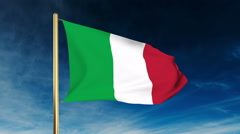 Italy flag slider style. Waving in the wind with cloud background animation Stock Footage