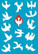 Dove Holy spirit icon set - stock illustration