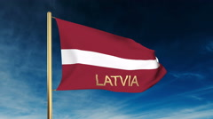 Latvia flag slider style with title. Waving in the wind with cloud background Stock Footage