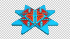 3D ETHNIC TRIBAL ORIGAMI PATTERN ANIMATION. ALPHA CHANNEL Stock Footage