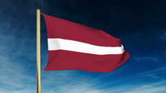 Latvia flag slider style. Waving in the wind with cloud background animation Stock Footage