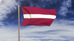 Latvia flag waving in the wind. Looping sun rises style.  Animation loop. Green Stock Footage