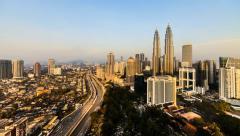 Sunset city view of Kuala Lumpur city. Timelapse. 4K Stock Footage
