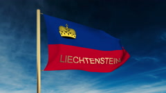 Liechtenstein flag slider style with title. Waving in the wind with cloud Stock Footage