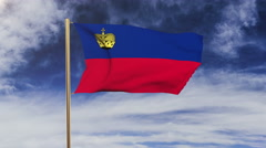 Liechtenstein flag waving in the wind. Looping sun rises style.  Animation loop Stock Footage