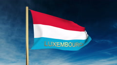 Luxembourg flag slider style with title. Waving in the wind with cloud Stock Footage