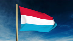 Luxembourg flag slider style. Waving in the wind with cloud background animation Stock Footage