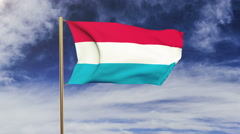 Luxembourg flag waving in the wind. Looping sun rises style.  Animation loop Stock Footage