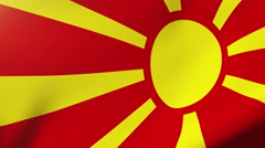 Macedonia flag waving in the wind. Looping sun rises style.  Animation loop - stock footage