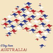 Stock Illustration of Australian map made from Kangaroos in vector format.