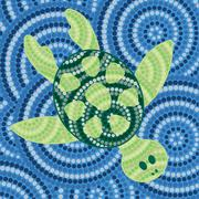 Abstract Aboriginal turtle dot painting in vector format. - stock illustration