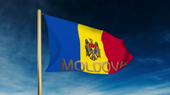 Moldova flag slider style with title. Waving in the wind with cloud background Stock Footage