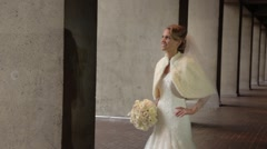 Bride dreaming at wedding day Stock Footage