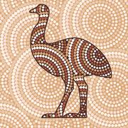 Abstract Aboriginal Emu dot painting in vector format. - stock illustration