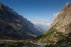 Alpine view of mountain tops in Restonica Valley , Corsica, Fran - stock photo