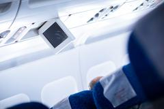 Interior of an aircraft (selective focus on seat numbers and air Stock Photos