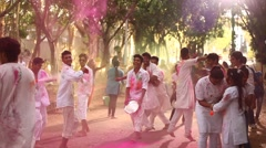 Friends celebrating Holi festival Stock Footage
