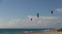 HD Kite surfer. Young Kitesurfers. Kitesurfing contest. Sea surfers. Watersport Stock Footage