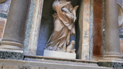 Sculpture inside the Pantheon. Rome, Italy Stock Footage