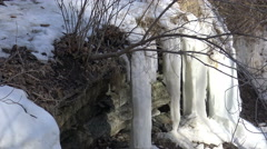 Ice Formations,  Ice Pillars on rock shelf,  4k Winter Landscape footage Stock Footage