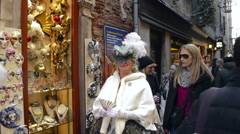 Dressed lady in Venice Italy during the carnival Stock Footage