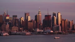 Midtown Manhattan across the Hudson River, New York, USA Stock Footage