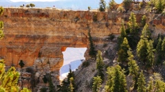 4K Grand Canyon North Rim 11 Angels Window Arch Rock Stock Footage