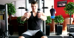 Sports man hard training in gym - stock footage