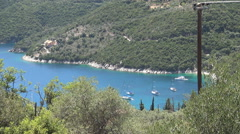 Ionian island port landscape. Blue bay, touristic harbor, summer holiday view. Stock Footage