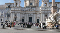 Sant'Agnese in Agone. Piazza Navona, Rome, Italy  Stock Footage