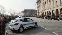 French Police Car surveillance - stock footage