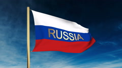 Russia flag slider style with title. Waving in the wind with cloud background Stock Footage