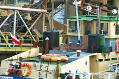 Ships moored at a shipyard Stock Photos
