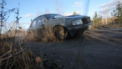 Fast Car On A Dirt Road Stock Footage