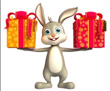 Easter Bunny with giftbox Stock Illustration