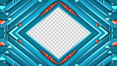 3D TRIBAL SPACE CLOSEUP FUTURISTIC LEGO FRAME ANIMATION. ALPHA CHANNEL. - stock footage