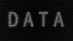 Animation of word data made with numbers running Stock Footage