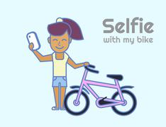 Selfie of young girl with bicycle Piirros