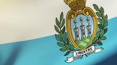 San Marino flag waving in the wind. Looping sun rises style.  Animation loop Stock Footage