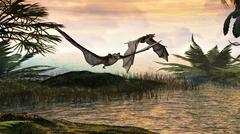 bats of the Eocene period - stock illustration