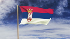 Serbia flag waving in the wind. Looping sun rises style.  Animation loop. Green Stock Footage