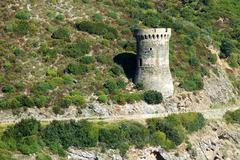 Genoese tower in Corsica. L'Osse defense tower - stock photo