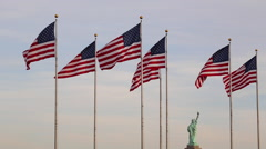 Flags, Liberty State Park, New Jersey, New York, USA Stock Footage