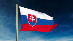 Slovakia flag slider style. Waving in the wind with cloud background animation Stock Footage