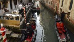 Gondola tour of Venice Italy Stock Footage