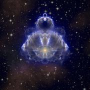 Buddhabrot - fractal Buddha on night starry sky Stock Illustration