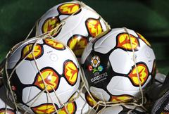 Close-up official UEFA EURO 2012 balls - stock photo