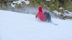 Snowboarder Fall Down The Slope,hard fall skier,falling Stock Footage
