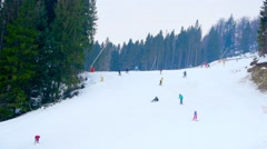 skier descends from the mountain,ski resort,skiers,extreme speed - stock footage