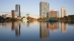 4K Time lapse medium close up Orlando skyline from Lake Eola - stock footage